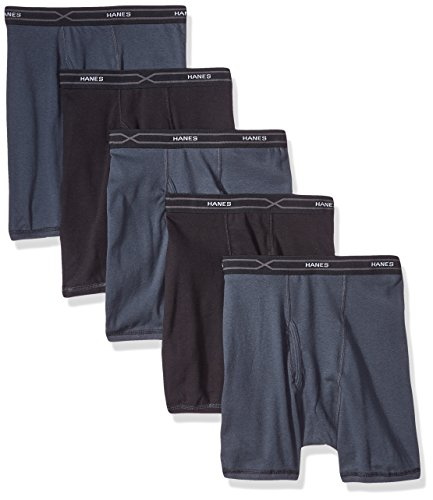Hanes 5-Pack Men's X-Temp Comfort Cool Boxer Briefs, Black/Gray, Medium