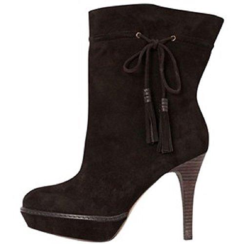 Superbe Karen Millen en daim Marron foncé et toutes les bottes en cuir avec plateforme