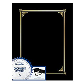 Geographics Black Classic Linen Document Covers, 9.75 x 12.5 Inches, Black Gold Foil, 6 Pack (45331H)