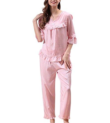 2017 Pijama De Algodón Con Muelle Traje De Una Pieza Ms Pink