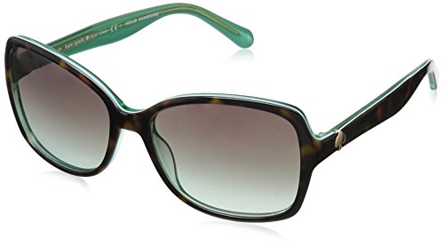 Kate Spade Women's Ayleens Rectangular Sunglasses, Havana Green/Gray Gradient Aqua, 56 - Sunglass Case Green Kate Spade