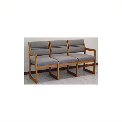 Reception Area Three-Seat Sofa with Sled Base and Oak Frame (Charcoal Gray)