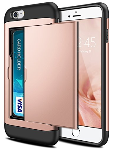 SAMONPOW iPhone 7 Case,Hybrid iPhone 7 Wallet Case Card Holder Shell Heavy Duty Protection Shockproof Defence Anti-Scratch Soft Rubber Bumper Cover Case for iPhone 7 - Rose ()