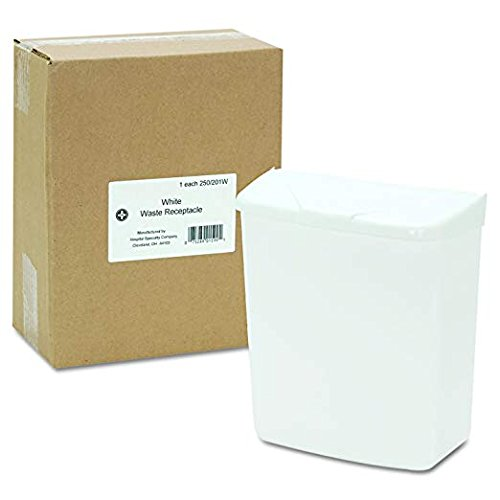 Hospeco Feminine Hygiene Receptacle, White ABS Plastic, 250-201W (2-Pack) by Hospital Specialty Co. (Image #1)
