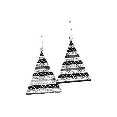 Silver Pyramid Drop Earrings with Black Enamel and Crystal Detail