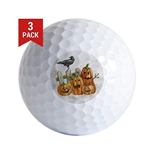 Golf Balls (Set of 3) Cute Halloween Pumpkins and Crow ()