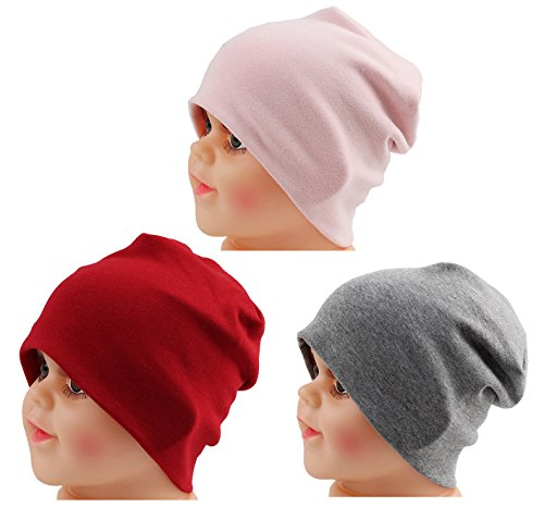 JAKY Global Cotton Kids Beanie Hat for Cute Baby Boy/Girl Toddler Ribbed Knit Children Winter Cap