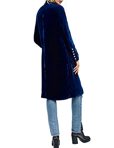HaoDuoYi Womens Solid Velvet Double Breasted Trench Coat(XXL,Blue) by HaoDuoYi (Image #2)
