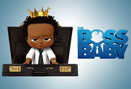 ERIC 7x5ft Vinyl Black Boss Baby Theme Photo Backdrop African American Gold Crown Boy Birthday Photography Background Baby Boss Baby Shower Birthday Party Banner Decoration LF125