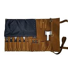 Premium Lightweight Genuine Vintage Tan Leather 11 Pockets Chef Knife Bag/Chef Knife Roll