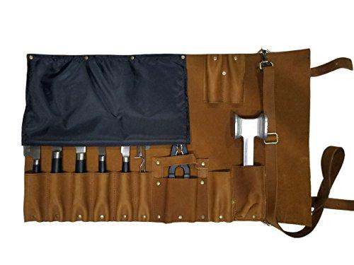 Professional Chef Lightweight Genuine Premium Vintage Tan Leather 11 Pockets Chef Knife Bag/Chef Knife Roll #K1-11B by luvsecretlingerie