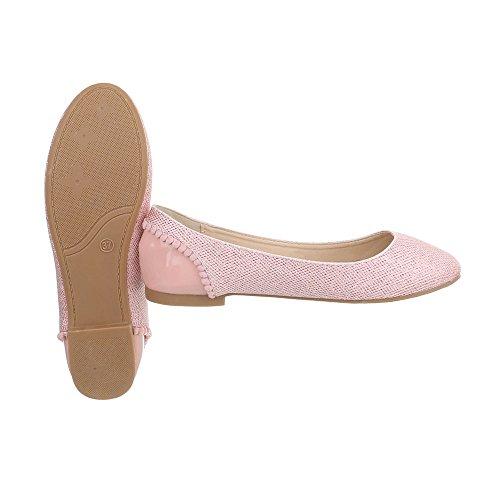 Chaussures femme Ballerines Bloc Ballerines classiques Ital-Design Rose Tti8qSg