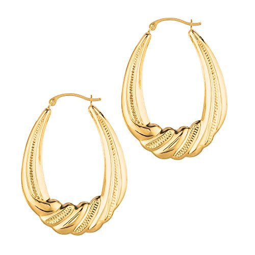 Aleksa Ladies 14K Yellow Gold Twisted Textured Shiny Graduated Oval Shape w/Ridge Symbolic Hoop Earrings
