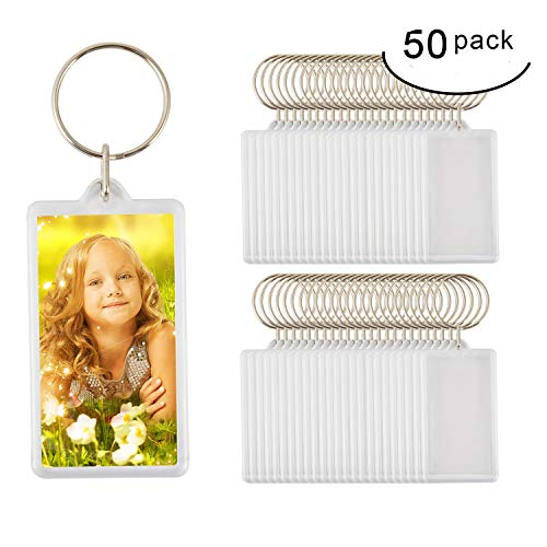 50pcs Custom Personalised Insert Photo Acrylic Blank Keyring Keychain Wholesale(Size:2