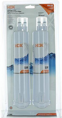 HDX FMW-5DP Refrigerator Filter Fits Whirlpool Filter 3, Kenmore and PUR (Refrigerator Water Filter T1rfkb1)