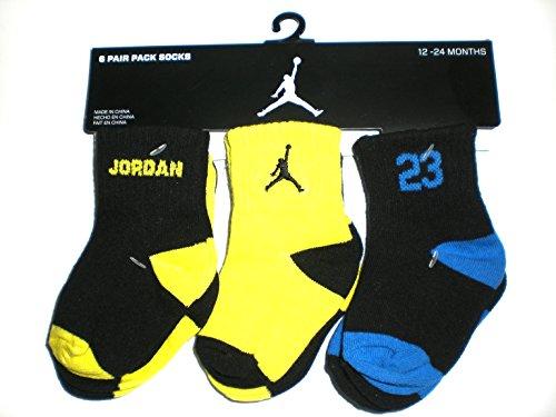 Nike Air Jordan Baby Socks Black, Neon, Blue, 6 PAIRS, Size 12-24 Months (Air Jordan Baby Socks)