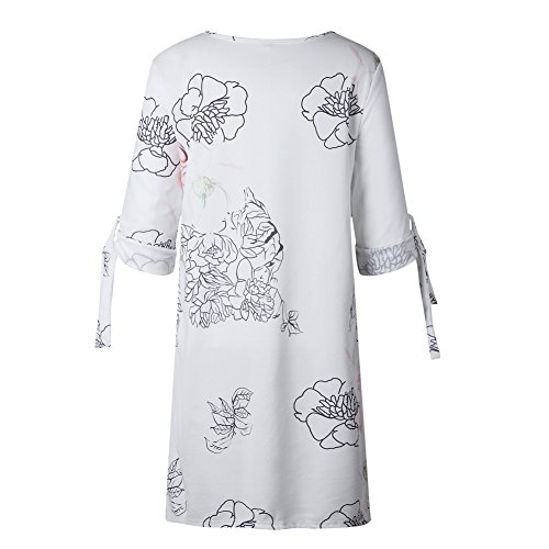 at Dress Print Mini Shirt Shift Summer A ANRABESS Casual Self Women Chiffon Sleeves Line Tunic tie Dress Floral 10 qEwOXPwT