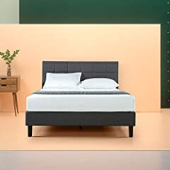 This stunning upholstered platform bed by Zinus will transform your bedroom. It ships in one carton with the frame, legs and ten wooden slats conveniently located in the zippered compartment in the back of the headboard for easy assembly. Thi...