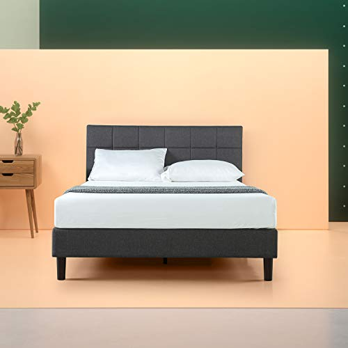 Upholstered Square Stitched Platform Bed with Wooden Slats, King