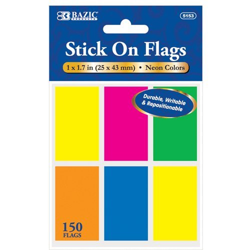 BAZIC 25 Ct. 1'' X 1.7'' Neon Color Standard Flags (6/Pack), Box Pack of 24