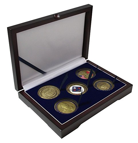Wood 5 Challenge Coin / Large Capsule Box Mahogany Matte (Silver Finish Challenge Coin)
