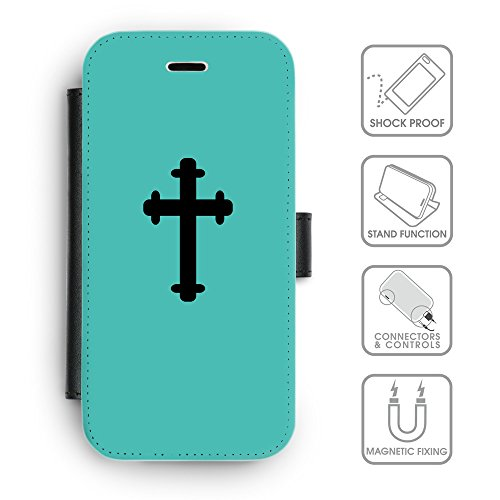 Flip PU Leather Wallet Case avec des fentes de carte de crédit // Q08410634 Religion 5 Turquoise // apple iphone 7 2016