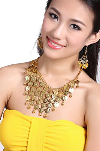 ZLTdream Belly Dance Gypsy Jewelry Accessories Dancing Necklace+Earrings 3pcs/Set Gold