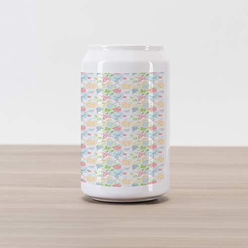 Ambesonne Birds Cola Can Shape Piggy Bank, Soft Pastel Colored Damask Stencil Technique Pattern of Spring Flowers and Birds, Ceramic Cola Shaped Coin Box Money Bank for Cash Saving, -