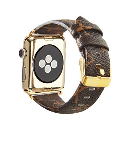 GUVCYO Compatible Apple Watch Band 38mm 40mm Fashion Leather iWatch Sport Series 4 Series 3 2 1 Strap Replacement for Women Men Metal Buckle (Brown 38mm L)