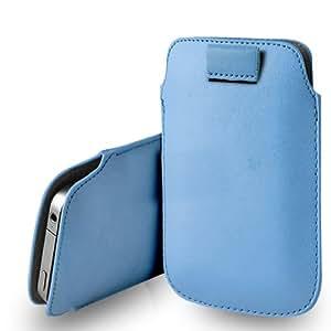 Apple iPod Touch 5 / 5th Generation Baby Blue Leather Tire Tab caso de la cubierta Pouch + paño de pulido