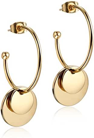 Wistic Women's Stainless Steel Gold Plated Double Ball Hoop Earrings