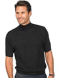 Paul Fredrick Men's Silk Grid Mock Neck Pullover