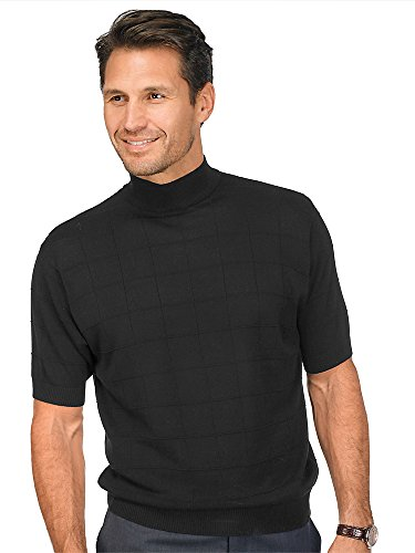 (Paul Fredrick Men's Silk Grid Short Sleeve Mock Neck Sweater Black Small)