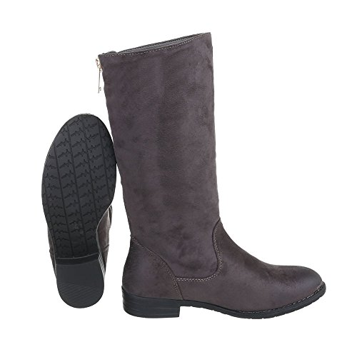Ital-Design Klassische Stiefel Damenschuhe Klassischer Stiefel Blockabsatz Blockabsatz Stiefel Grau