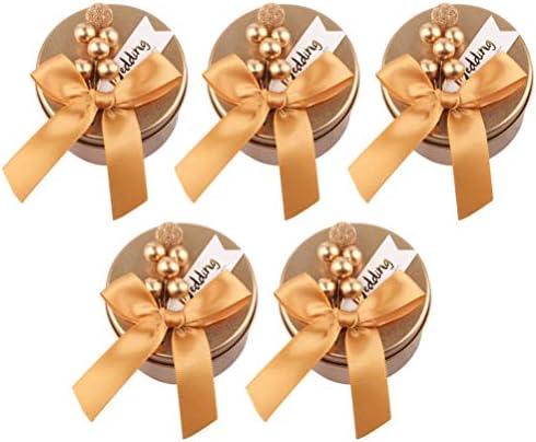 NUOBESTY 5ピースウェディングキャンディーラウンドゴールデンキャンディーボックス付きゴールデンリボンボウブリキコンテナ用バンケットウェディングデコレーションギフトパッキング