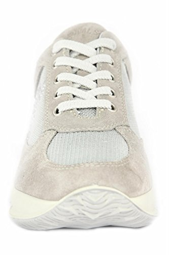 7951 PERLA /ARGENTO Scarpa donna sneaker Enval soft pelle made in Italy