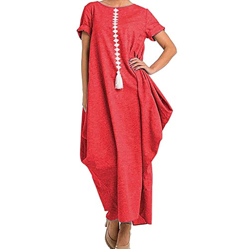 Lovygaga Fashion Women Summer Casual Solid Color Baggy Long Dress Simple Short Sleeve Beach Sundress Red