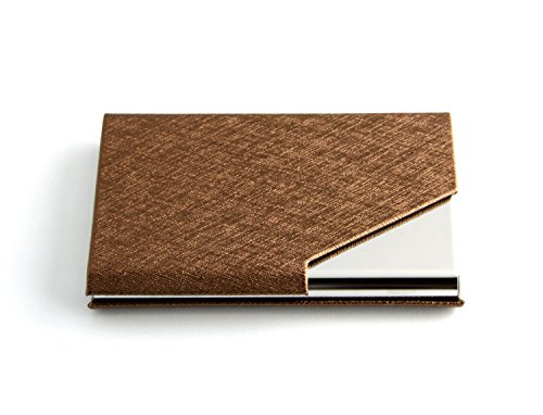 TM Blue Fashion Wood Grain PU Leather /& Stainless steel Business Name Card Holder Wallet Credit card ID Case // Holder 22 Name Cards Case. Partstock