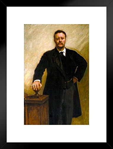(Poster Foundry John Singer Sargent Theodore Teddy Roosevelt Rough Rider 1903 Oil On Canvas Painting Matted Framed Wall Art Print 20x26 inch)