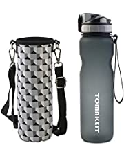 TOMAKEIT Sport Water Bottle 1 Litre, Tritan Bottle Wide Mouth & Secure Locking Lid for Hiking/Cycling/Running/Outdoor and Office(Black+Grey Bag)
