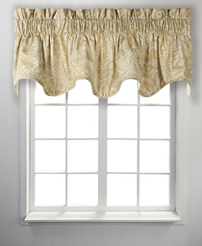 "Ellis Curtain Floating Leaves Lined Scallop Valance, 70"" x 1"