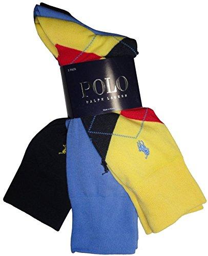 Polo Ralph Lauren Men's Dress Socks Argyle / Solid Multi, One Size (Yellow Argyle / Multi)