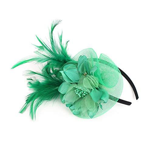 Netting Feathers Big Flower Headband Party Girls Women Fascinator Headwear Cocktail Hat Head Decoration]()