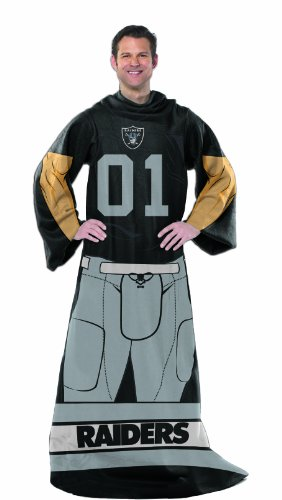 Oakland Raiders Comfy Throw - Officially Licensed NCAA Oakland Raiders Full Body Player Adult Comfy Throw Blanket, 48