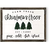 Christmas Trees Shiplap Wood Sign | Rustic Home Decor Wooden Wall Art Plaque Signs with Sayings and Quotes Farmhouse Frame Holiday Decorations Gift for Her