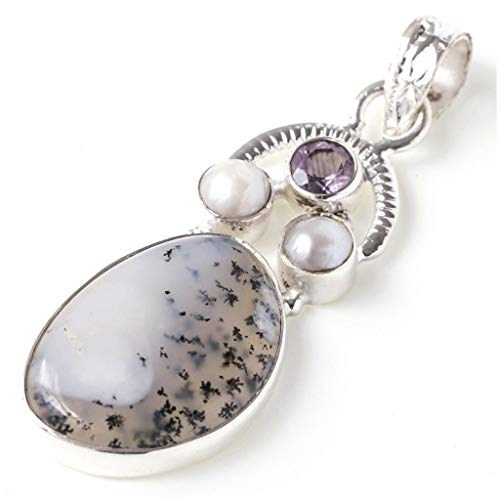 (Natural Dendritic Opal, Amethyst and River Pearl Unique Design 925 Sterling Silver Pendant 1 7/8