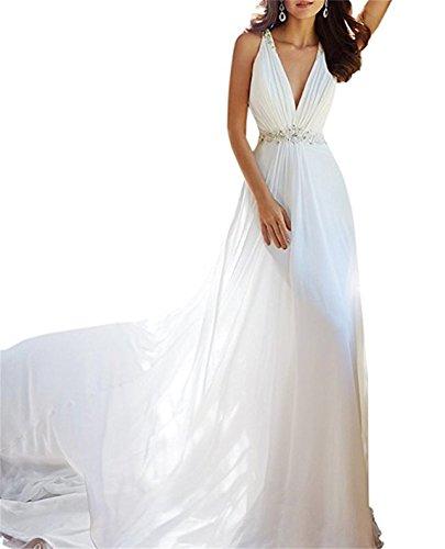 de de ANJURUISI con vestido de novia profundo Long V Marfil cuentas gasa Beach en Mujer's Sexy cuello OpTrzOq
