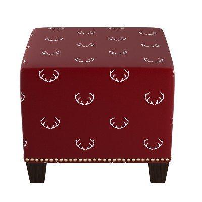 Square Nail Button Ottoman Antler Maroon - Skyline Furniture Antler Maroon