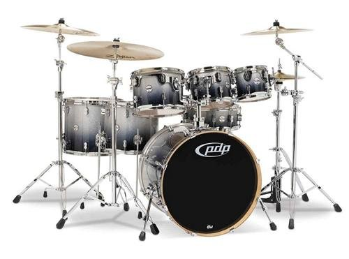 PDP By DW 7-Piece Concept Maple Shell Pack with Chrome Hardware Silver to Black Fade