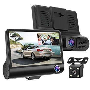 Uniqus 4.0 inch IPS Screen 5.0 Mega Pixels 170 Degrees Wide Angle Full HD 1080P Exclusive 3 Channels Video Car DVR, Support Night Vision Fill Light   Reversing Visual   TF Card(32GB Max)   G-sensor   Motion Detection